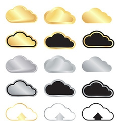 Set of blank gold and silver clouds and black with vector