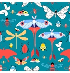 Seamless graphic pattern with different insects vector