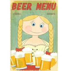Beer retro card - blond girl with beer vector
