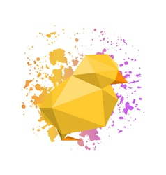 Abstract origami yellow chicken on watercolor vector
