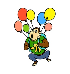 Balloons with monkey vector image vector image