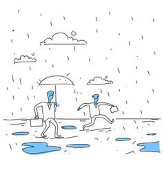 business man holding umbrella during rain finance vector image