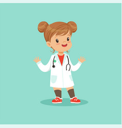 cheerful baby girl in white medical coat and vector image vector image