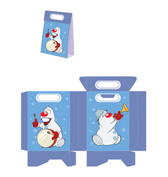 Christmas snowman handbags packages pattern vector