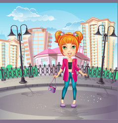 City promenade with a teen girl in a pink jacket vector