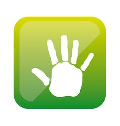 Color square with handprint icon vector