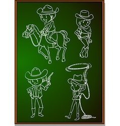 Cowboys and cowgirls on blackboard vector image