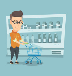 Customer with a shopping cart vector