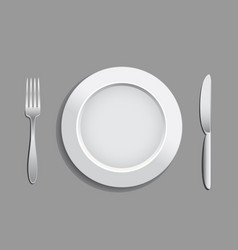 fork plate knife vector image vector image