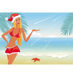 Girl on the beach in santa hat vector