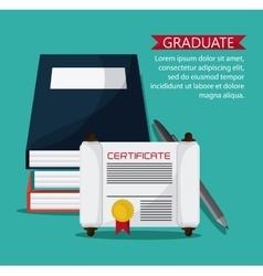 Graduation cap diploma pen icon vector