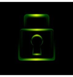 Green glowing lock symbol icon vector
