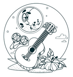 guitar and maracas outline drawings for coloring vector image vector image