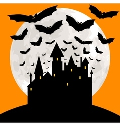 Halloween card with castle vector image vector image