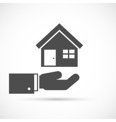 Holding house on hand vector image vector image