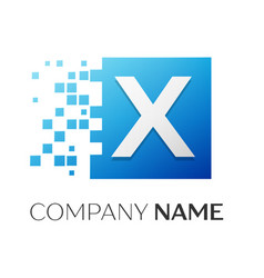 Letter x logo symbol in the colorful square with vector