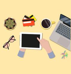 office desktop top view vector image