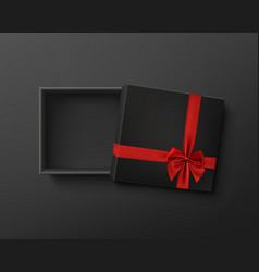 opened black empty gift box with red ribbon and vector image vector image