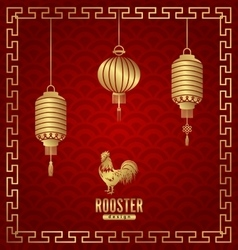 Oriental banner for chinese new year rooster vector