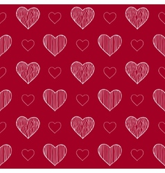 Seamless pattern with doodle hearts vector image