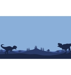 Silhouette of tyranosaurus and allosaurus vector