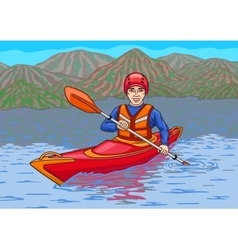The kayaker is in the water campaign vector