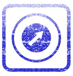 Up-right rounded arrow framed textured icon vector