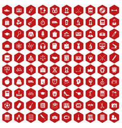 100 hi-school icons hexagon red vector