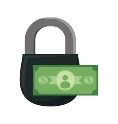 Padlock coin money financial item design vector