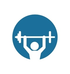 silhouette fitness man weight barbell blue vector image