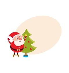 Cute and funny santa claus decorating a christmas vector