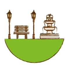 Park with bench lamps and fountain icon image vector