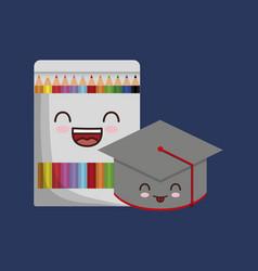 kawaii school related icons vector image