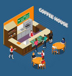 Coffee house isometric composition vector