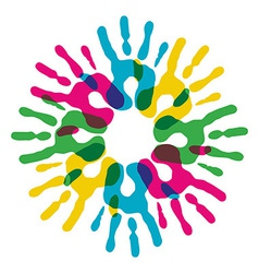 Multicolor diversity hands circle vector