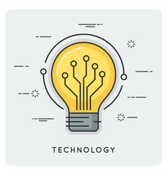 Intelligence and technology thin line concept vector