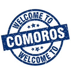 Welcome to comoros blue stamp vector