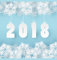 2018 happy new year background with 3d paper craft vector image vector image