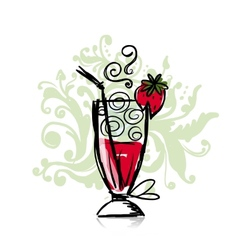 Cocktail with strawberry sketch for your design vector