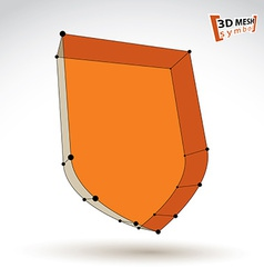 3d mesh web orange security icon isolated on white vector
