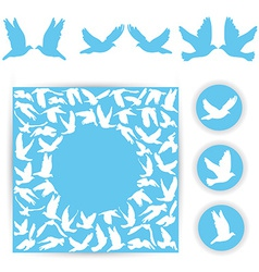 Set design wedding card white doves on a blue vector