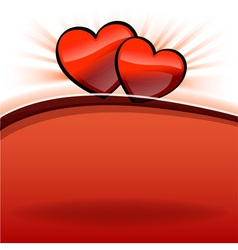 two hearts on the red and white vector image