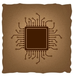 Cpu microprocessor vintage effect vector