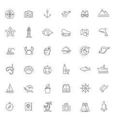 Outline web icon set - journey vacation cruise vector