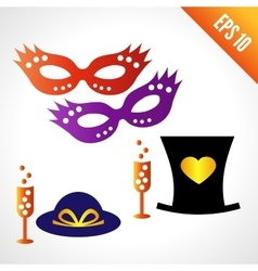 Set icons carnival masks hats vector