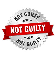 Not guilty 3d silver badge with red ribbon vector