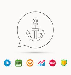 Anchor icon nautical drogue sign sea symbol vector