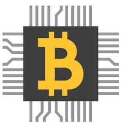 bitcoin symbol icon as computer microchip vector image vector image