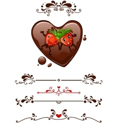 Cartoon strawberry and decorative elements vector