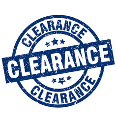 clearance blue round grunge stamp vector image